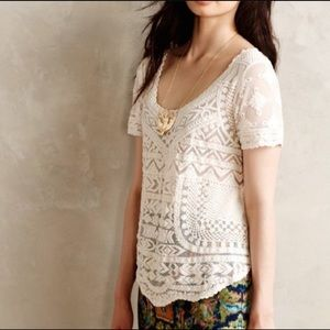 Anthropologie meadow rue sheer/lace cream top